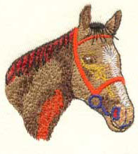 Superior Quality Embroidery Tapes with a horse face sewn on Melco Amaya with CND and EXP