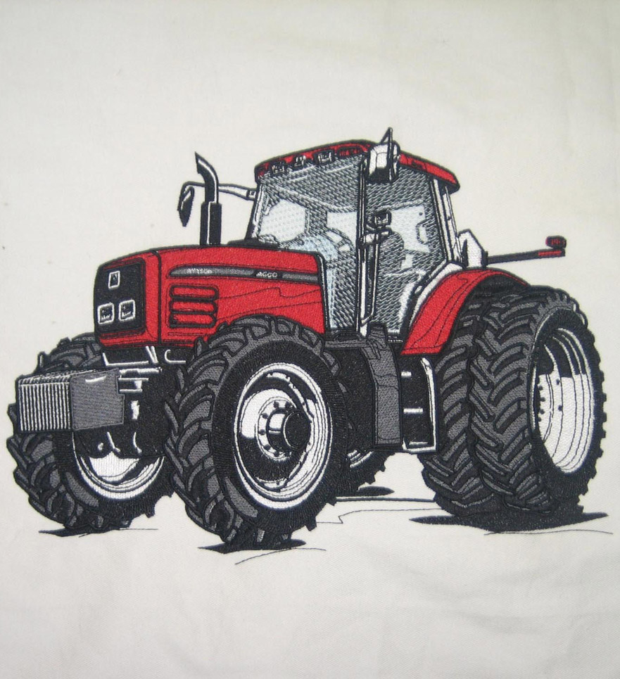Quality Embroidery Digitizing with Tractor Sewout on Twill material depicting an appearance of text on license plate